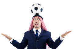 Arab businessman. With football on white Royalty Free Stock Photography
