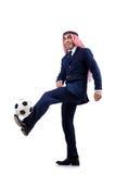 Arab businessman. With football on white Stock Photos