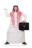 Arab businessman with briefcase isolated Royalty Free Stock Photo