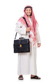 Arab businessman with briefcase isolated Royalty Free Stock Photography