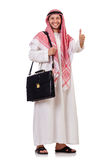 Arab businessman with briefcase isolated Stock Images