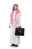 Arab businessman  with briefcase  isolated Royalty Free Stock Photos