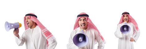 The arab businessman with bullhorn isolated on white Royalty Free Stock Images