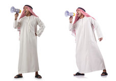 The arab businessman with bullhorn isolated on white Stock Image