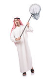 Arab businessman. With catching net on white Stock Photo