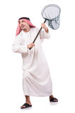 Arab businessman with catching net. On white Royalty Free Stock Photos