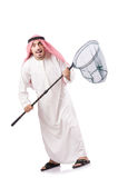 Arab businessman. With catching net on white Royalty Free Stock Photography