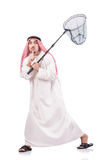 Arab businessman with catching net. On white Stock Photography