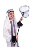 Arab businessman. With catching net on white Stock Photos