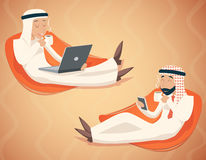 Arab Businessman Chat Laptop Mobile Phone Drink Royalty Free Stock Image
