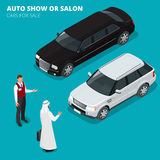 Arab businessman chooses Luxury car. Flat 3d vector isometric illustration. Cars for sale. Auto business, car sale and Royalty Free Stock Photo
