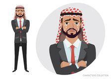 Arab businessman Crying. Exhausted man in depression vector illustration