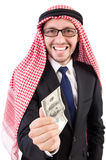 Arab businessman with dollar Stock Photos
