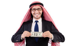 Arab businessman with dollar Royalty Free Stock Images