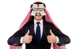 Arab businessman. In eyeglasses with dollar in funny concept isolated on white Stock Photography