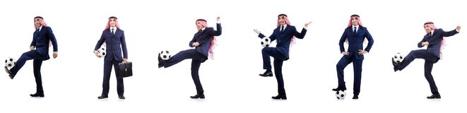 The arab businessman with football Stock Photos