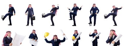 The arab businessman with football Stock Images