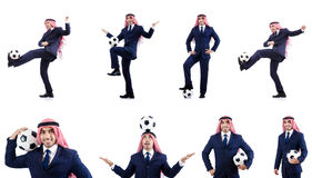 The arab businessman with football Royalty Free Stock Photos