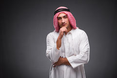 The arab businessman on gray background Royalty Free Stock Photos