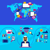 Arab businessman and international cooperation. Business strategy Royalty Free Stock Photos