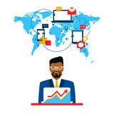 Arab businessman and international cooperation. Freelance and communication Royalty Free Stock Images