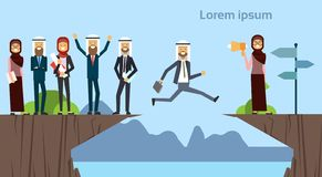 Arab businessman jumping over obstacles chasm go to the opposite goal concept. business group success. challenge, risk. And overcome problem or obstacles stock illustration