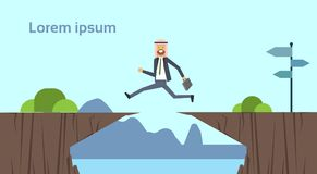 Arab businessman jumping over obstacles over chasm go to the opposite goal concept. business success. challenge, risk. And overcome problem or obstacles vector illustration