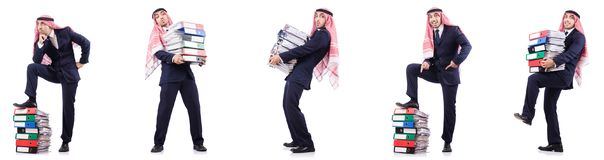 The arab businessman with many folders on white Royalty Free Stock Photography