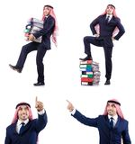 The arab businessman with many folders on white Stock Image