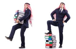 The arab businessman with many folders on white Stock Photos