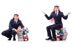 The arab businessman with many folders on white Stock Images