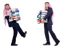 The arab businessman with many folders on white Stock Photography