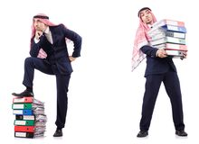 The arab businessman with many folders on white Royalty Free Stock Photos