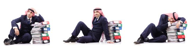 The arab businessman with many folders on white Stock Photo