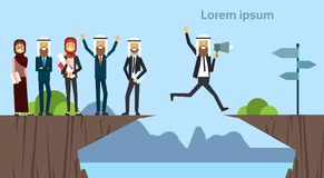 Arab businessman with megaphone jumping over obstacles chasm go to the opposite goal concept. business group success. Challenge, risk, and overcome problem or vector illustration