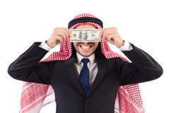 Arab businessman with money. In funny consept isolated on white Royalty Free Stock Photography
