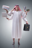 The arab businessman in multitasking concept Stock Image