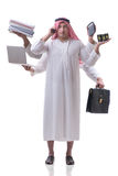 The arab businessman in multitasking concept Royalty Free Stock Image