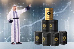 The arab businessman in oil price business concept Royalty Free Stock Images