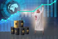The arab businessman in oil price business concept Stock Photo