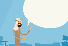 Arab Businessman Point Finger Up Chat Bubble Copy Space Muslim Business Man Royalty Free Stock Photography