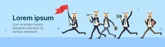 Arab businessman run with red flag team group over blue background. business success concept. challenge, risk, flat Royalty Free Stock Photography