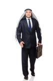 The arab businessman rushing isolated on white Stock Photo