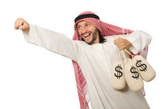 Arab businessman with sacks of money Stock Photography