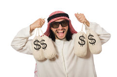 Arab businessman with sacks of money Stock Images