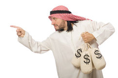 Arab businessman with sacks of money Stock Image