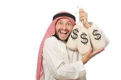 Arab businessman with sacks of money Royalty Free Stock Image