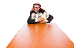 The arab businessman with sacks of money Stock Photography