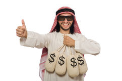 The arab businessman with sacks of money Royalty Free Stock Photo