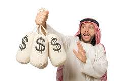 The arab businessman with sacks of money Stock Images